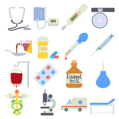 Medical icons set. Flat illustration of 16 medical vector icons for web