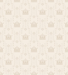 Decorative background in classic style, beige color, seamless pattern. Repeating vintage texture pattern. Vector art