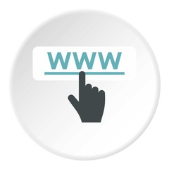 Hand points to WWW icon. Flat illustration of hand points to WWW vector icon for web