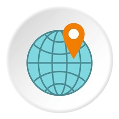 Planet and GPS sign icon. Flat illustration of planet and GPS sign vector icon for web