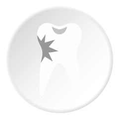 Carious tooth icon. Flat illustration of carious tooth vector icon for web