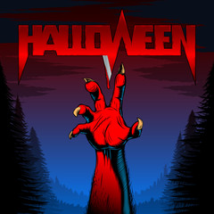 Halloween background with zombie hand in night forest with title of the evil spirits holiday with blood on the blade; Vector poster Eps8