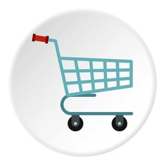 Basket on wheels icon. Flat illustration of basket on wheels vector icon for web