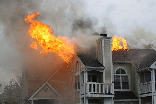 Apartments on fire