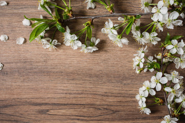A branch of cherry blossoms on a wooden background with a warm lamp light. white spring flowers, flat lay.