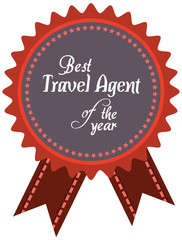 Vector promo label of best travel agent or tour guide service aw