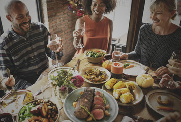 Poster Restaurant People Cheers Celebrating Thanksgiving Holiday Concept