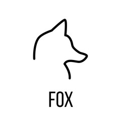 Fox icon or logo in modern line style.