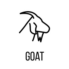 Goat icon or logo in modern line style.