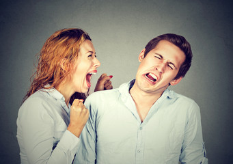 Angry woman screaming at her husband or boyfriend