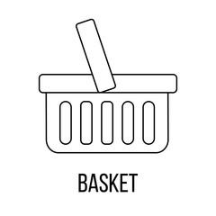 Basket icon or logo line art style.
