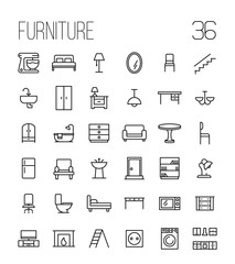 Set of furniture icons in modern thin line style.