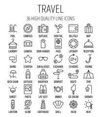 Set of travel icons in modern thin line style.
