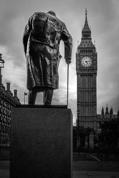 B&W Winston Churchill in parliament square and Big Ben