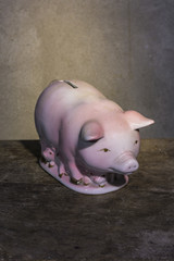 Pig bank ceramic still life