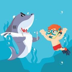 shark hugry meet human diving alone