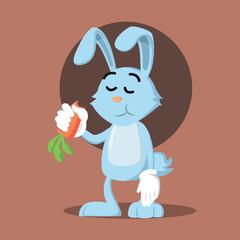 bunny eating carrot vector illustration design
