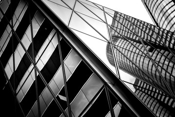 Obraz windows of business building in Hong Kong with B&W color  - fototapety do salonu