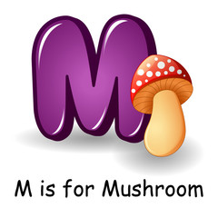 Vegetables alphabet: M is for Mushroom