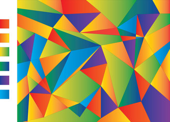 Pattern of geometric shapes. Vector illustration. Abstract background of gradient colorful triangles. colored palette on side