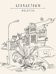 Houses, lamp, car and tropical plants in Georgetown historic colonial center. Malaysia, Southeast Asia. Colonial buildings. Vintage postcard template