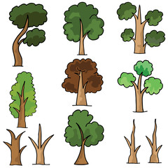 Set of tree style doodles vector