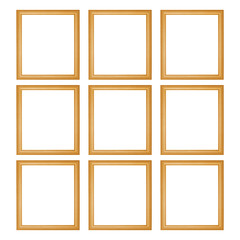 nine wooden frames isolated on white