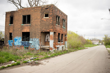 Abandoned Building Dilapidated Real Estate Detroit Michigan