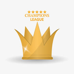 Gold crown icon. Champions league winner and success theme. Colorful design. Vector illustration