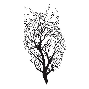 Wolf run silhouette double exposure blend tree drawing tattoo vector