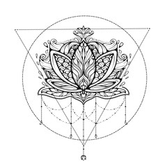 Lotus flower dream-catcher ornamental. Ethnic, bohemian art. Tattoo, astrology, alchemy, boho and magic symbol. Adult antistress. Hand drawn illustration.