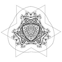 Ethnic, bohemian abstract art. Tattoo, astrology, alchemy, boho and magic symbol. Adult antistress. Hand drawn illustration.