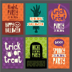 Happy Halloween party invitation, greeting card, flyer, banner, poster templates. Hand drawn silhouettes of zombies, pumpkin, headstone and magical witchs hat. Place for your text. Vector.