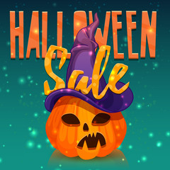 Template design greeting card, flyer, poster for Happy Halloween discount . Decoration pumpkin and magical witchs hat for Halloween offer. Banner halloween sale. Vector.
