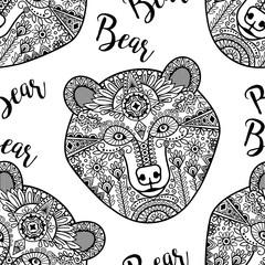 Hand drawn black doodle bear face, seamless pattern. Vector illustration
