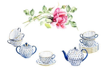 Tea time set with porcelain dishes and rose in glass vase. Watercolor hand drawn illustration