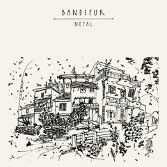 Bandipur, Nepal, Asia. Beautiful small town in the Himalayan mountains. Travel sketch. Vintage touristic hand drawn postcard or poster, book illustration