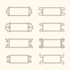 Set of vintage frames. Frame with swirls and decor of the leaves. Decorative frame for banners, invitations, greeting cards, business cards. Monochrome frame in vintage style. Vector