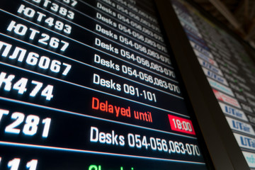 Timetable digital board at the airport