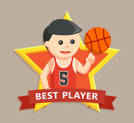 basket ball player in star emblem