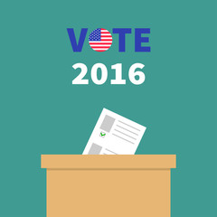 Ballot Voting box with paper blank bulletin Choice concept. Polling station. President election day Vote 2016 text round badge button. Green background Flat design Card