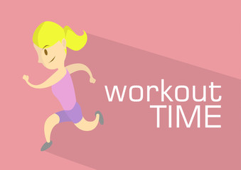 Exercise Running Workout Girl Vector