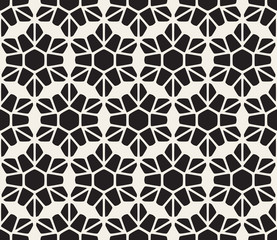 Vector Seamless Black and White Rounded Lace Petal Pattern