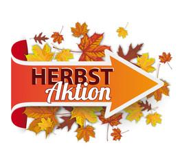 Pfeil mit Herbstlaub und Text Herbstaktion