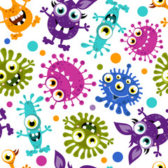 Seamless pattern of Cartoon Cute Monster.Colorful background of monsters with different emotions. Vector illustration