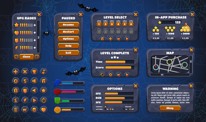 Mobile game graphical user Interface GUI. Design, buttons and icons. Vector illustration.