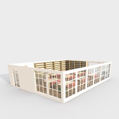 3d interior rendering perspective view of brown furnished library