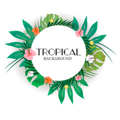 Bright hawaiian design with tropical plants and hibiscus flowers. Vector