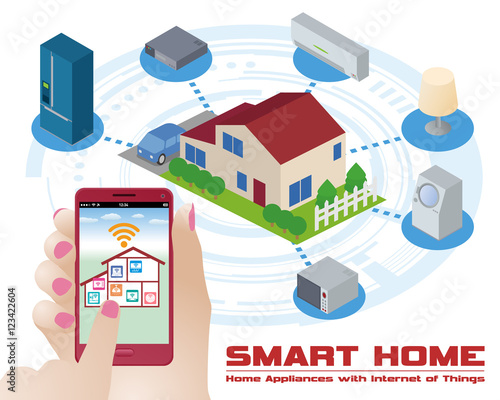 smart home and home appliances remote controlled by smart phone internet of things vector. Black Bedroom Furniture Sets. Home Design Ideas
