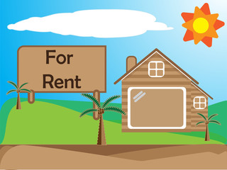 Home for rent , Cartoon drawing , business concept, Vector illustration EPS10.